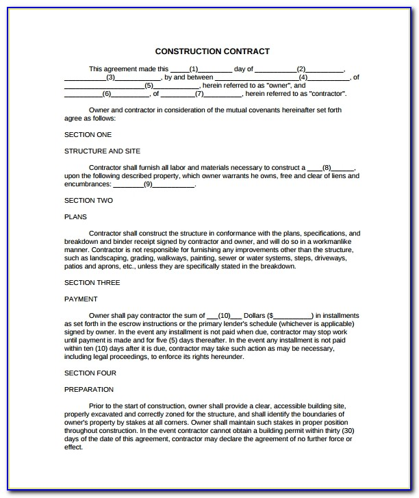 Construction Contract Agreement Sample India