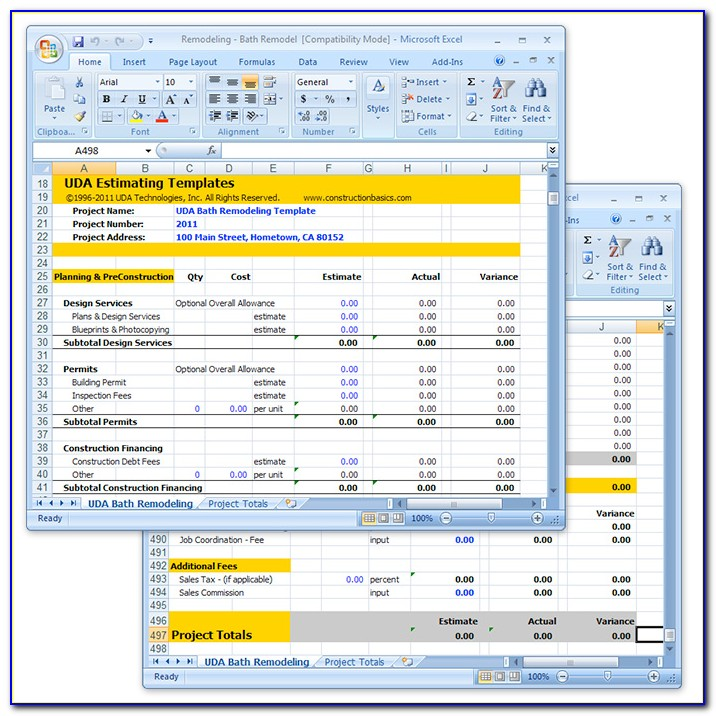 Construction Pricing Template Excel