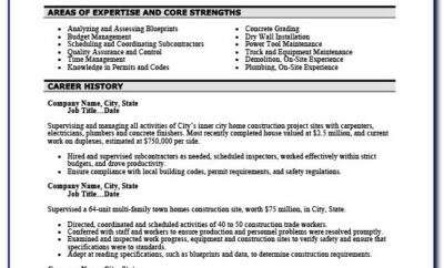 Construction Supervisor Resume Format
