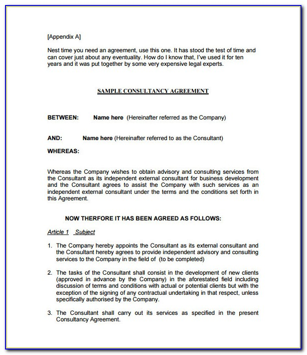 Consultancy Agreement Format India