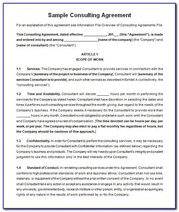 Consultancy Agreement Template Australia Free