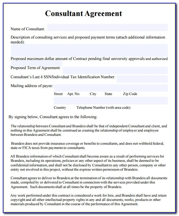 Consultancy Agreement Template Free Download