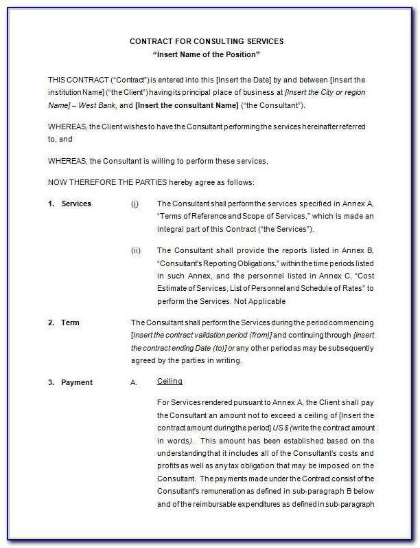 Consultancy Contract Example Uk