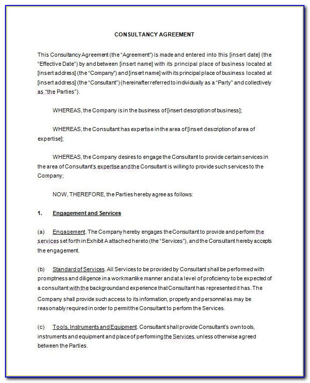 Consultancy Contract Template Free