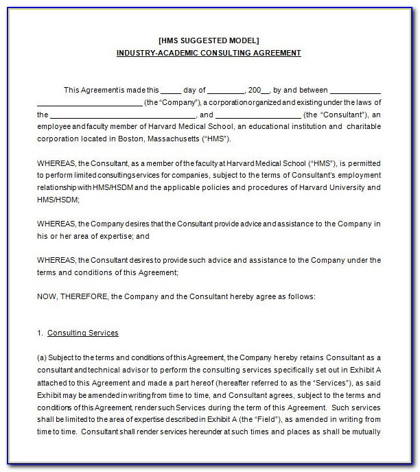Consultancy Service Agreement Template Uk
