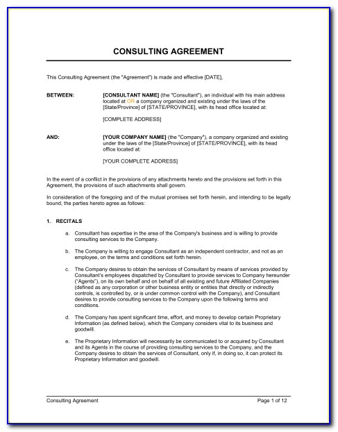 Consultant Agreement Format India