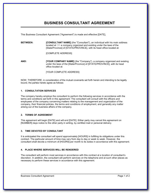 Consultant Contract Template Canada
