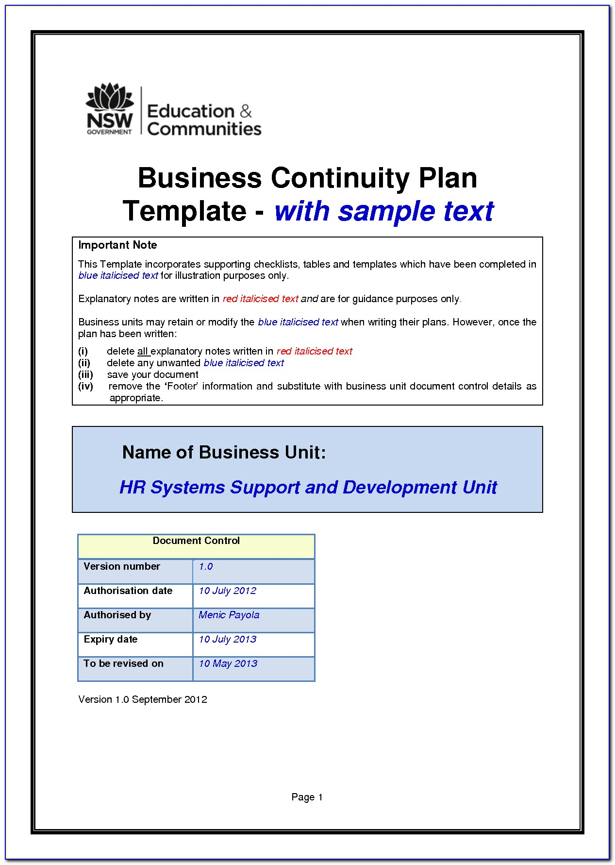 Contingency Plan Template For Small Business