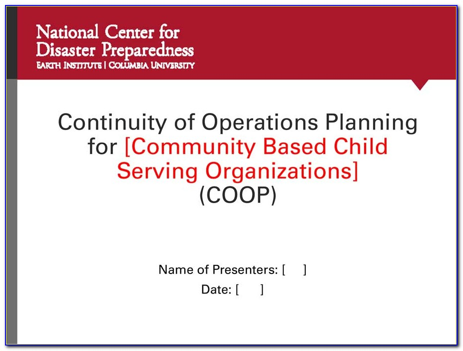 Continuity Of Operations Plan Examples