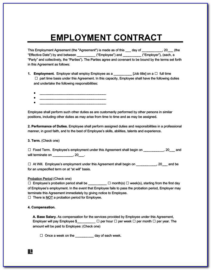 Contract Employee Agreement Sample