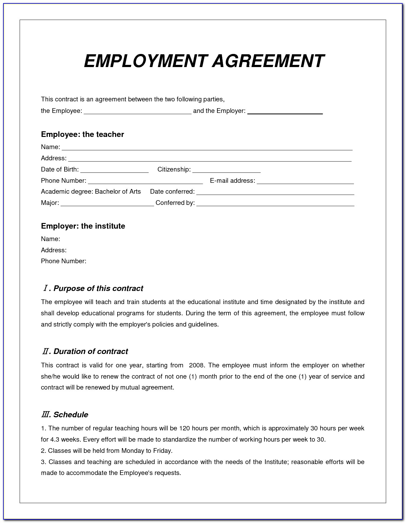 Contract Employment Agreement Template