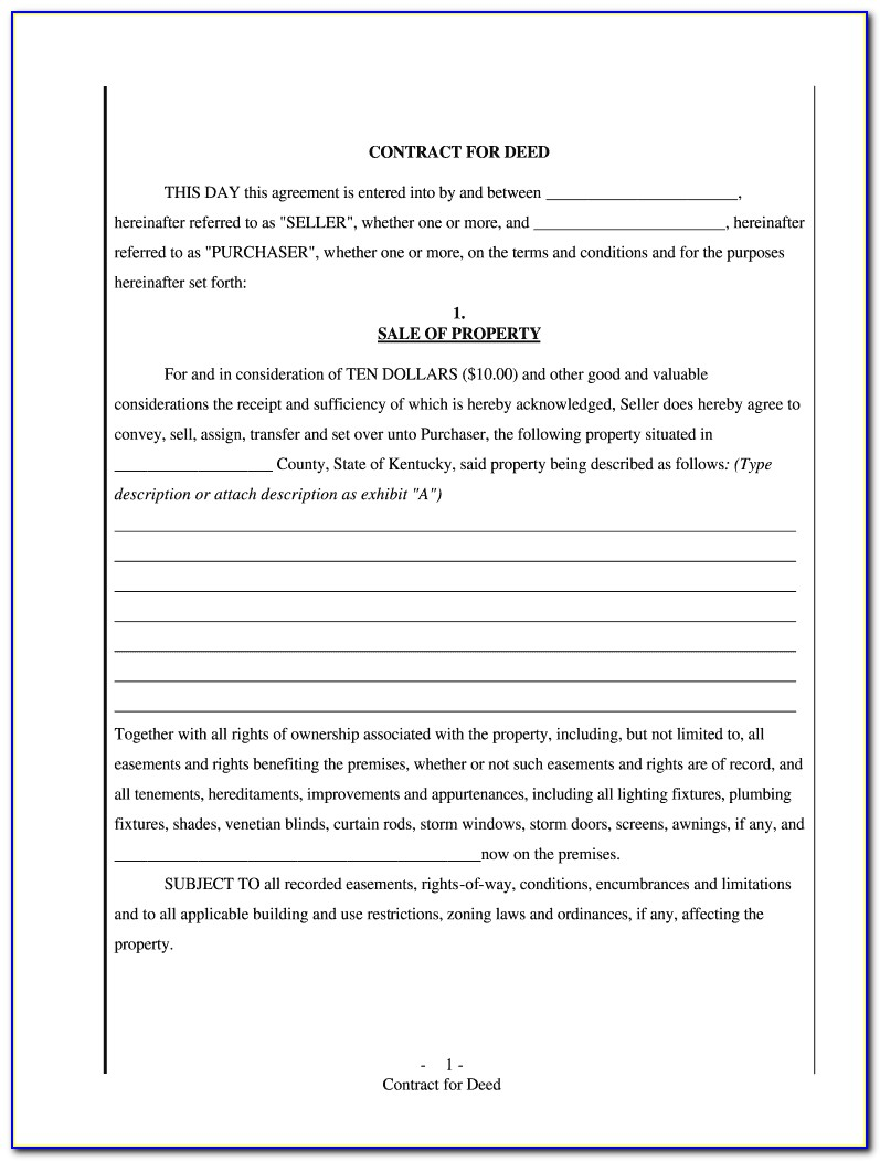 Contract For Deed Document
