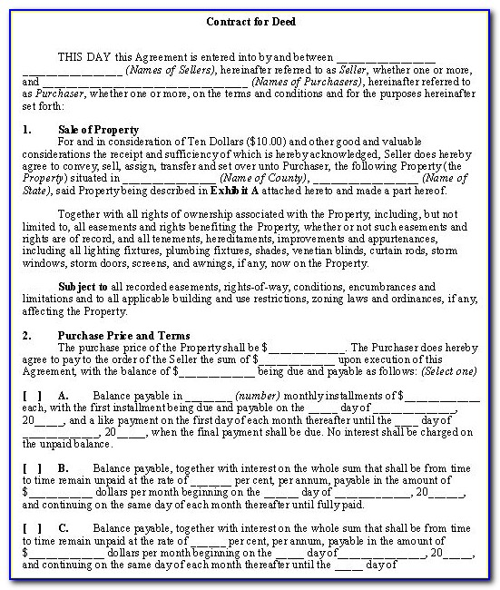 Contract For Deed Example Minnesota