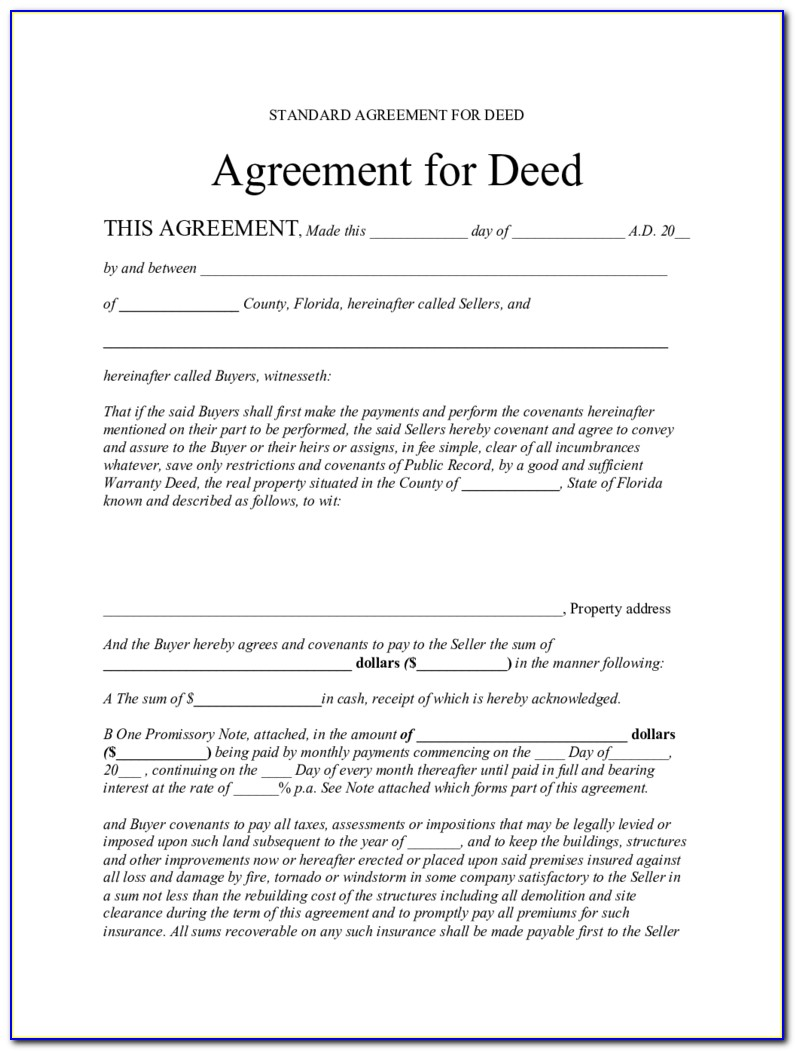 Contract For Deed Example