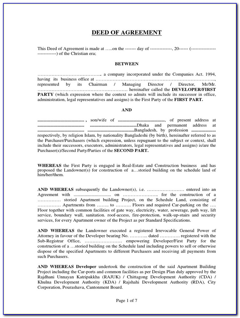 Contract For Deed Forms Free