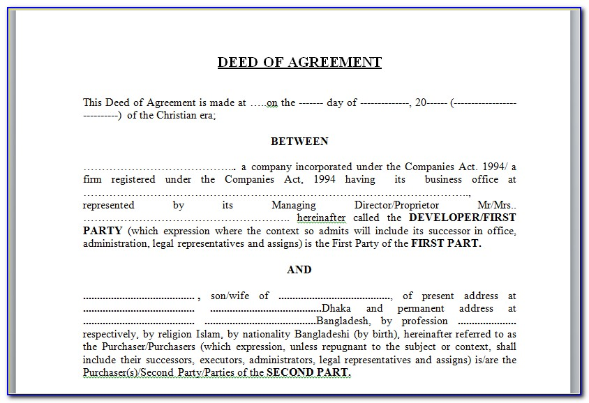 Contract For Deed Missouri Template