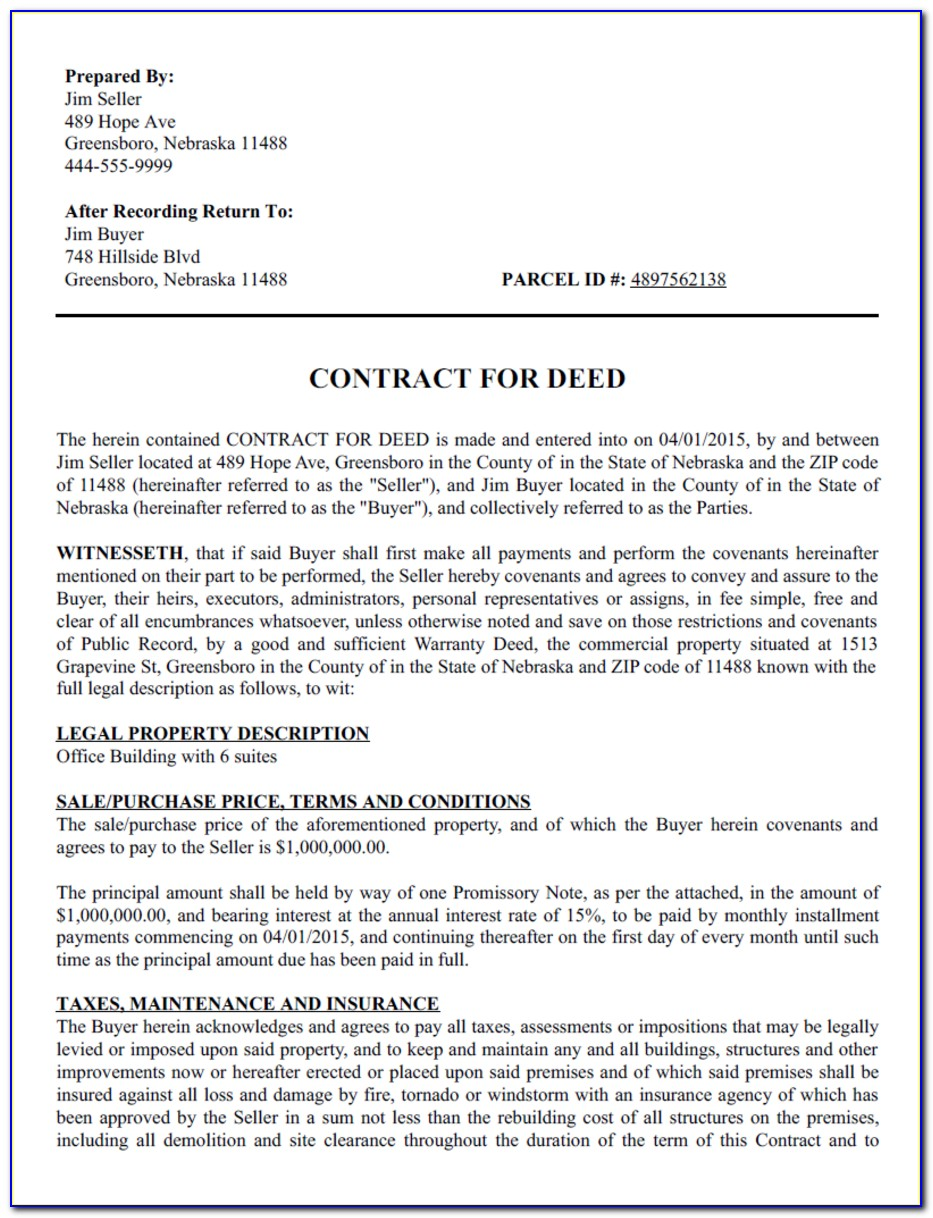 Contract For Deed Pdf