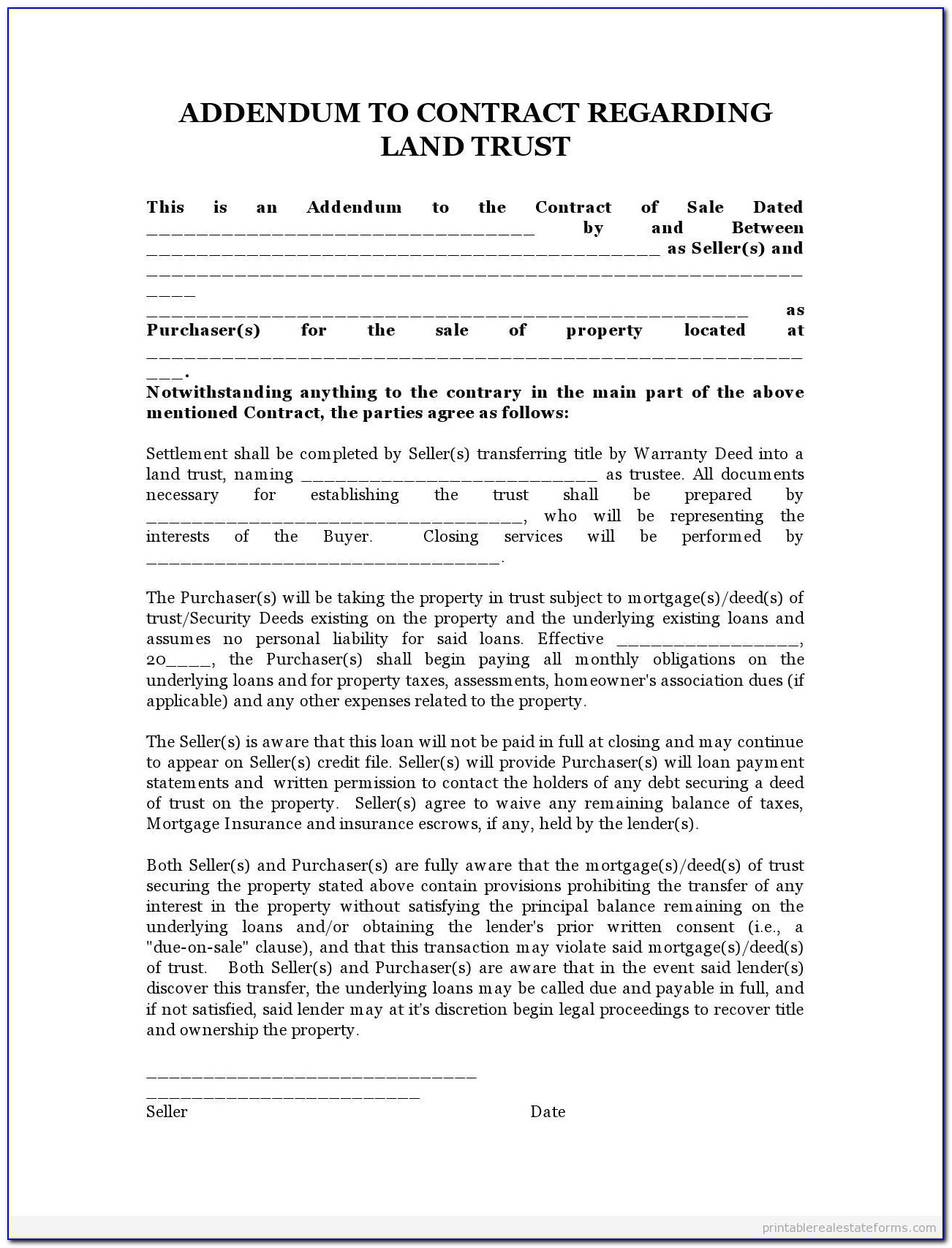 Contract For Deed Template Minnesota