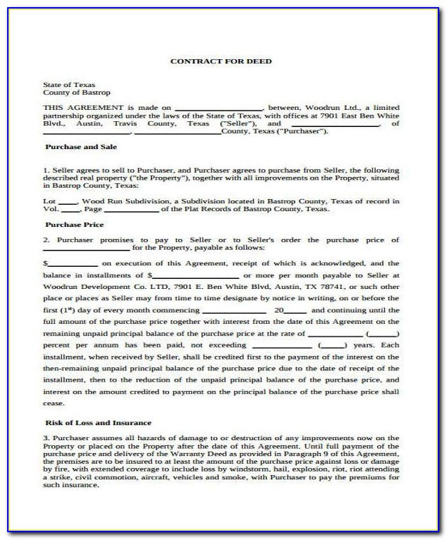 Contract For Deed Texas Template