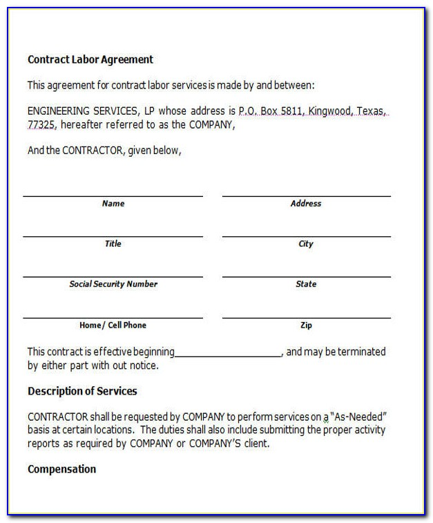 Contract Labor Agreement Form