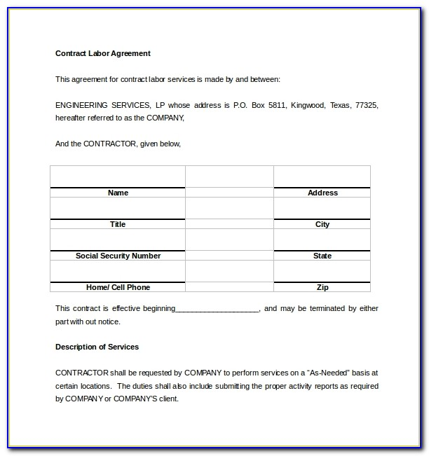 Contract Labor Agreement Sample