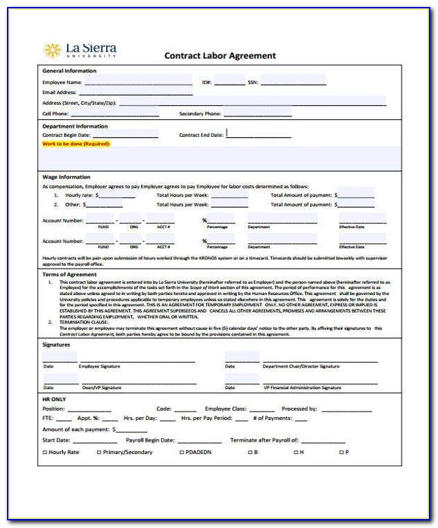 Contract Labor Contract Sample