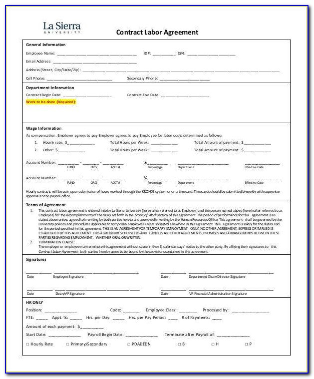 Contract Labor Contract Template