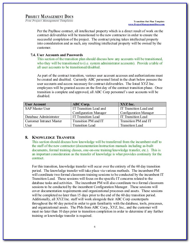 Contract Transition Out Plan Template