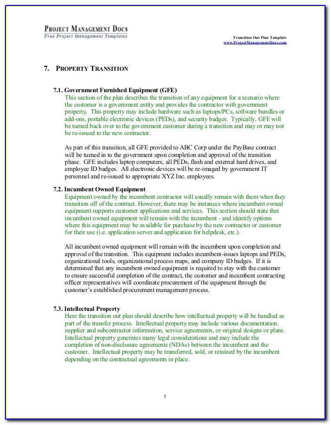 Contract Transition Plan Sample