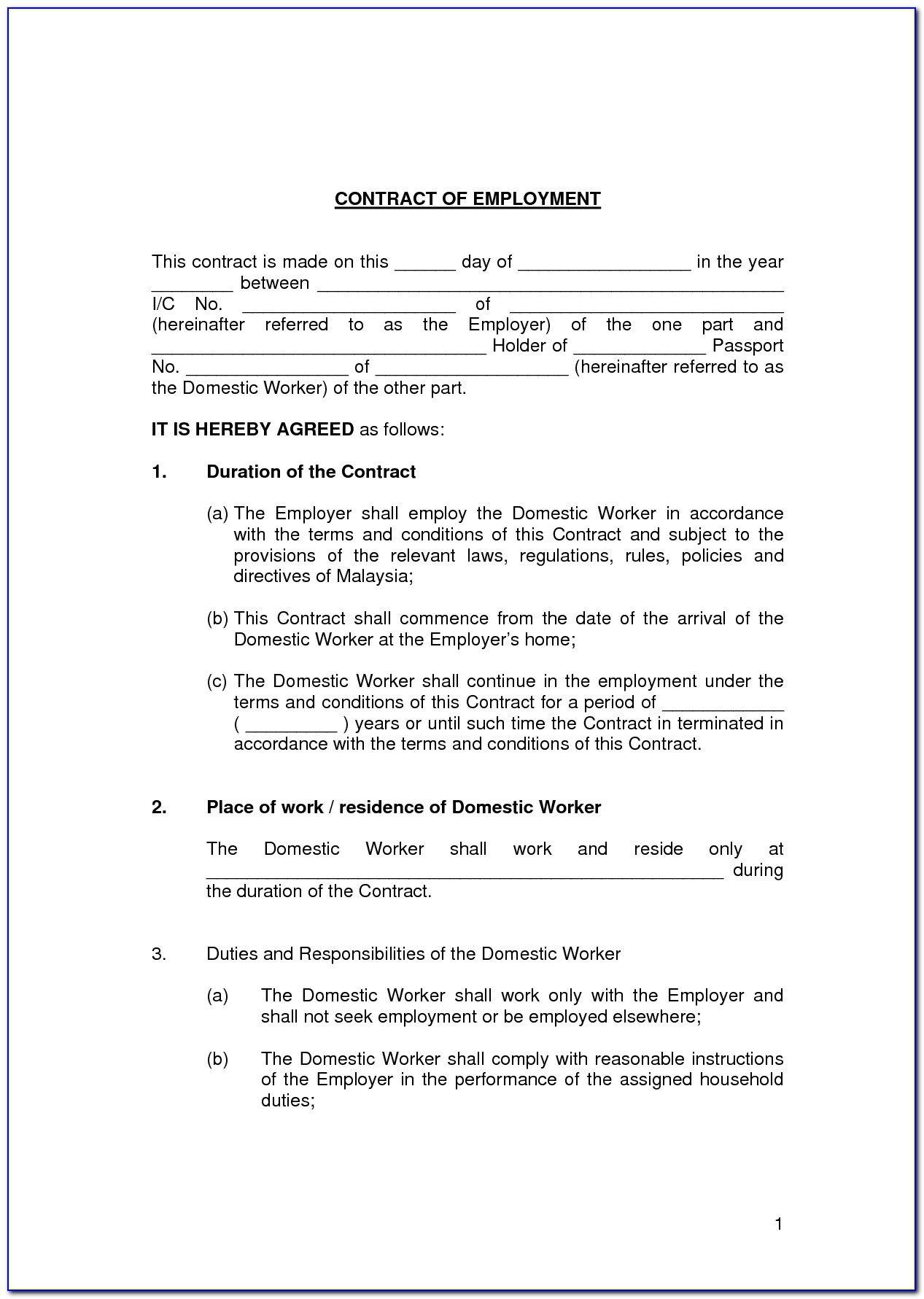 Contract Worker Agreement Template