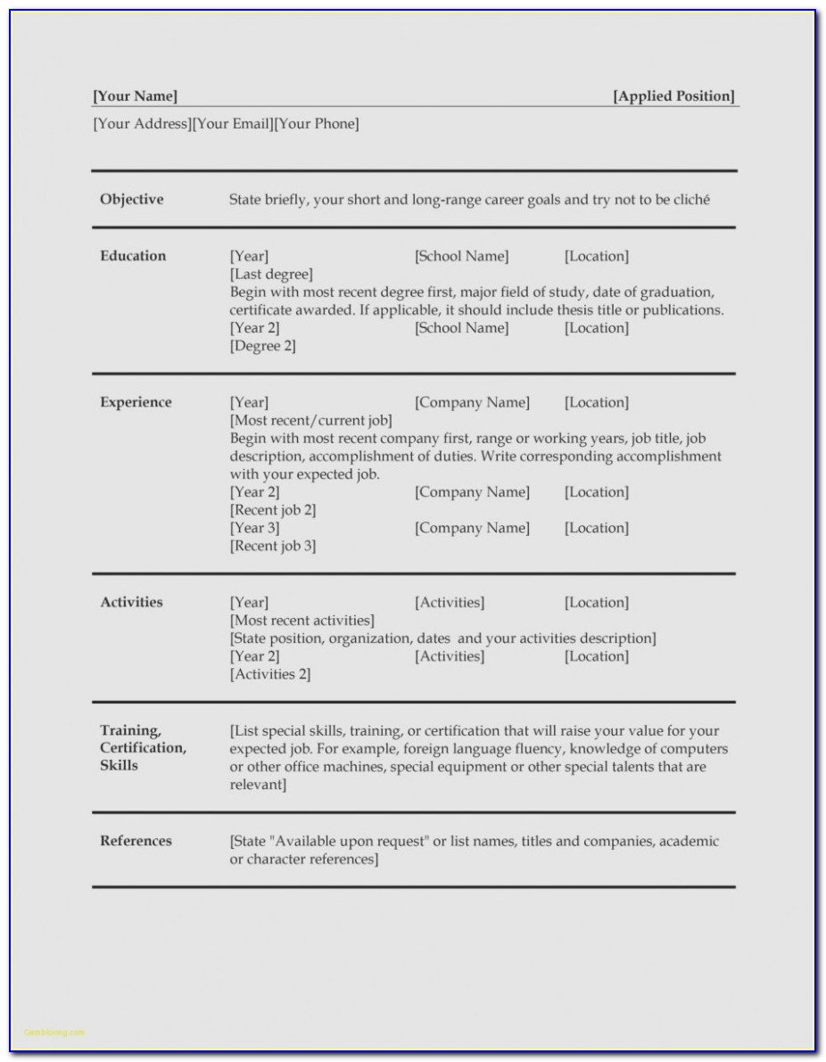 Copy And Paste Cv Templates