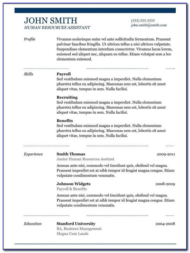 Copy And Paste Resume Templates Free