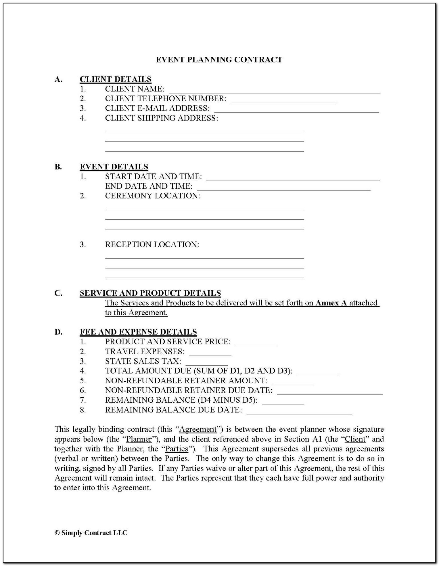 Corporate Event Planner Contract Template