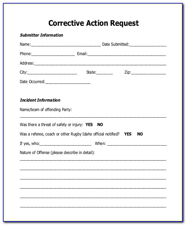 Corrective And Preventive Action Report Sample