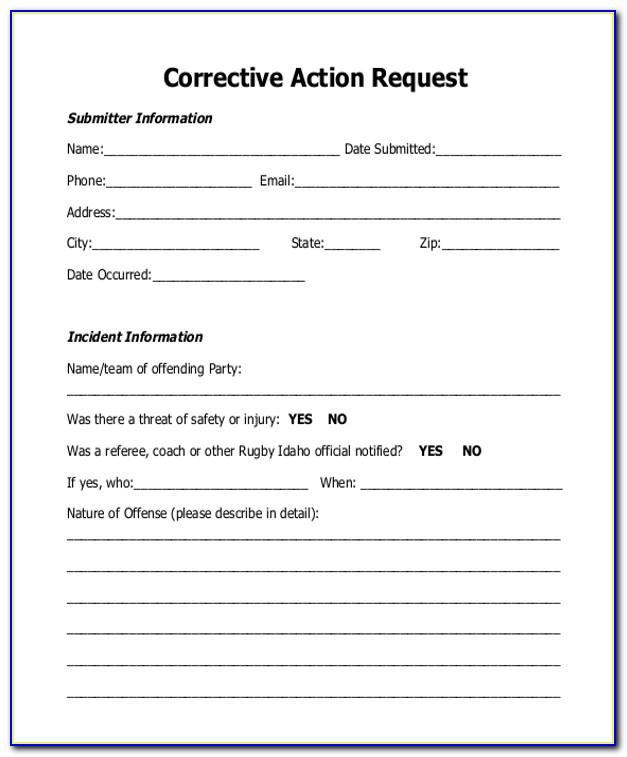 Corrective Preventive Action Form Sample