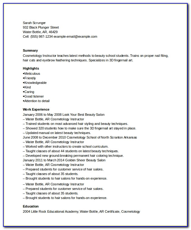 Cosmetology Instructor Resume Examples