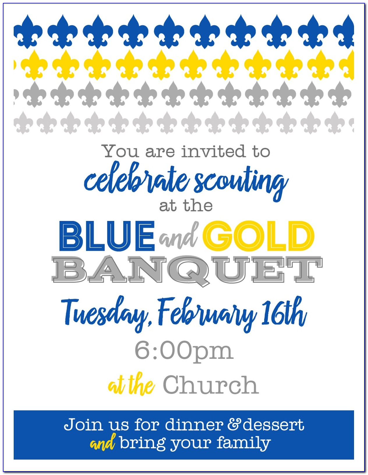 Cub Scout Blue And Gold Invitation Template