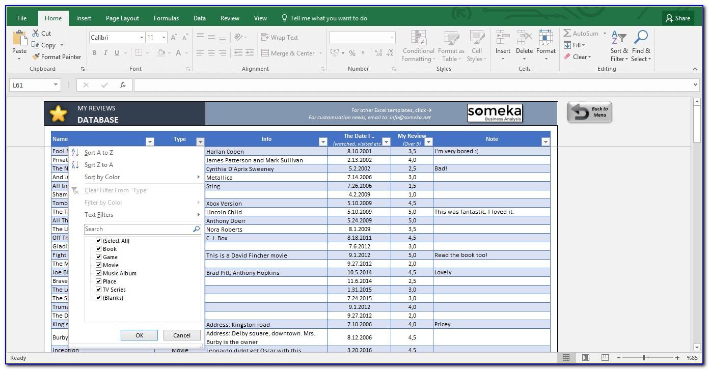 Customer Database Excel Template Download