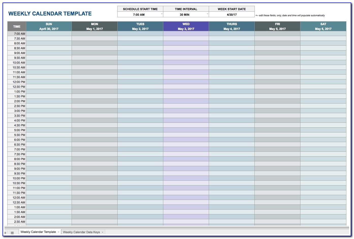 Daily Appointment Calendar Template Excel