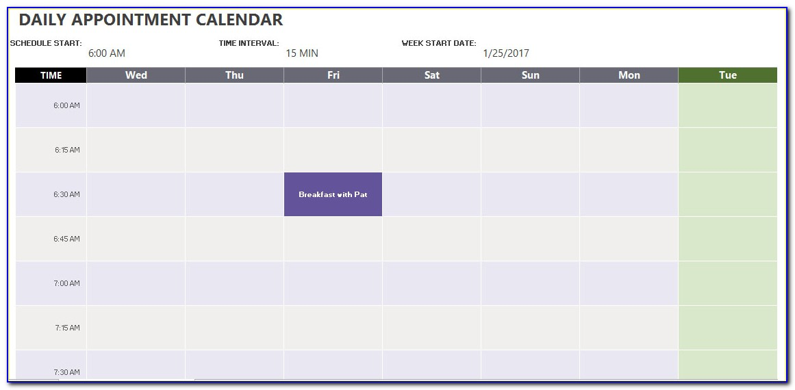 Daily Appointment Calendar Word Format