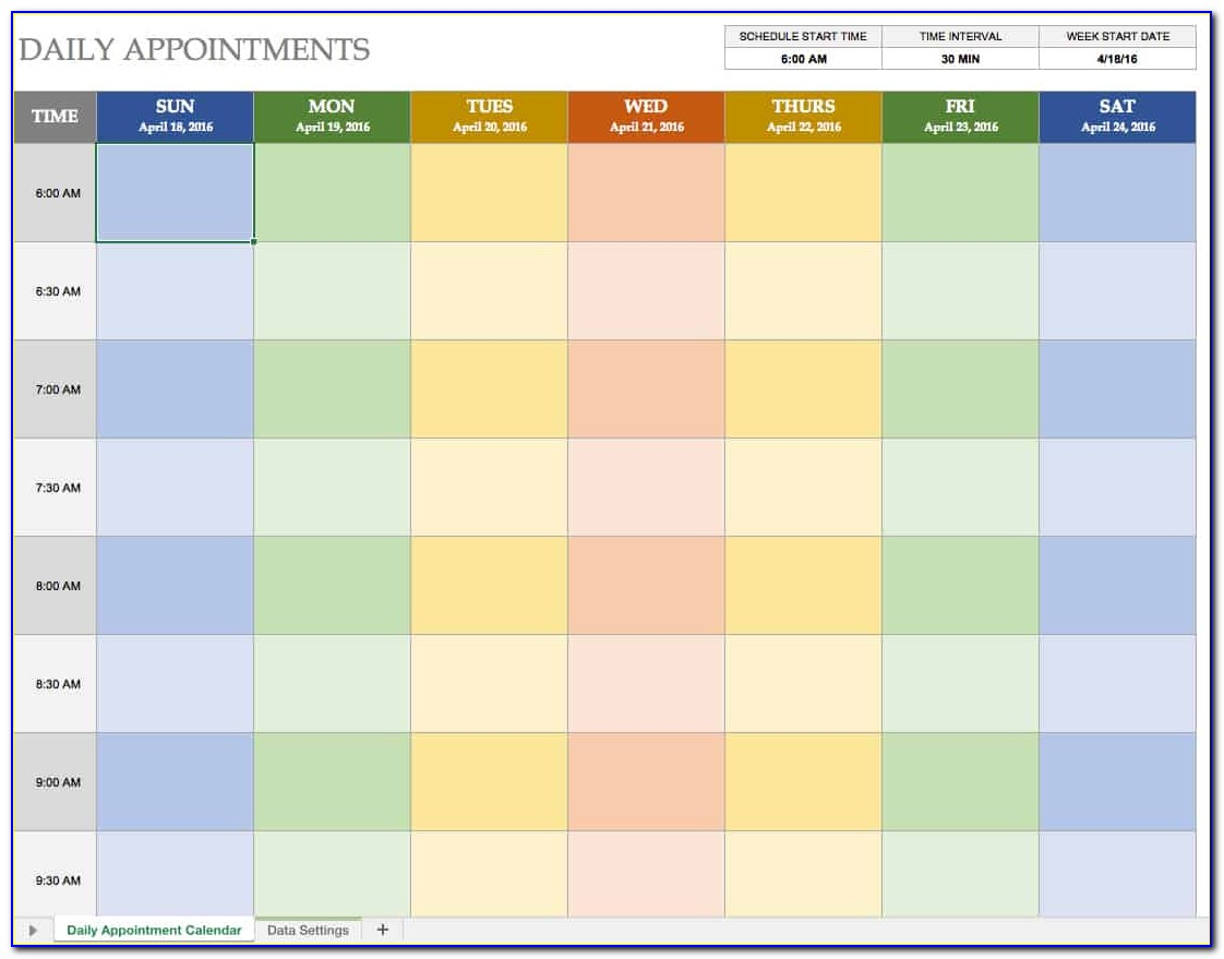 Daily Appointment Schedule Template Free