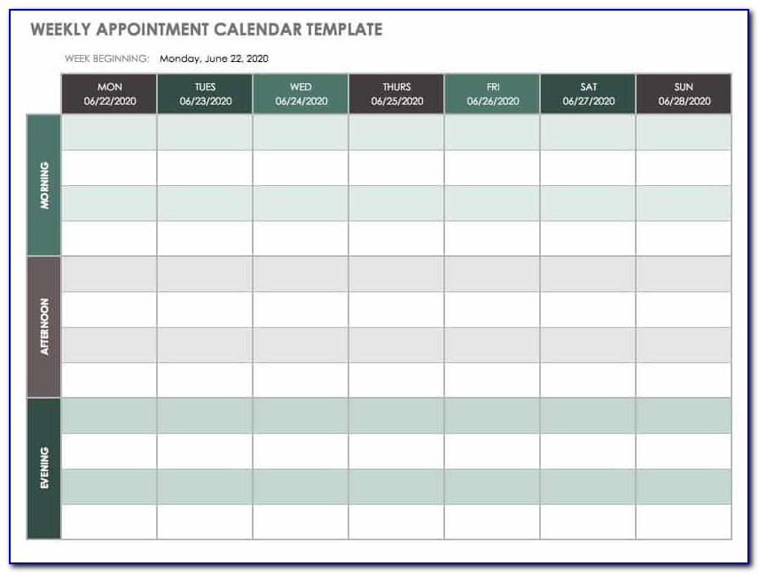 Daily Appointment Sheet Template Free