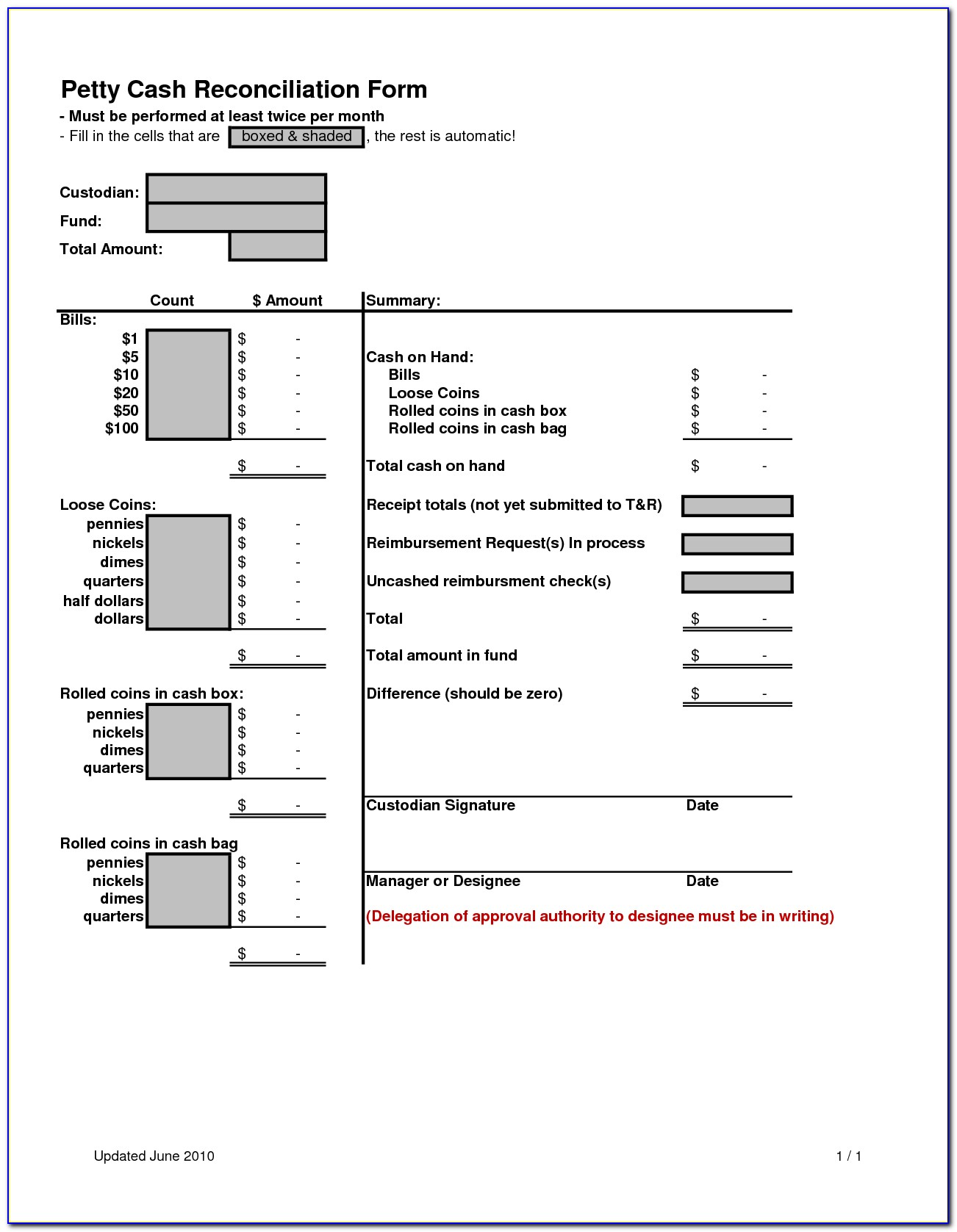 Daily Cash Reconciliation Form Template