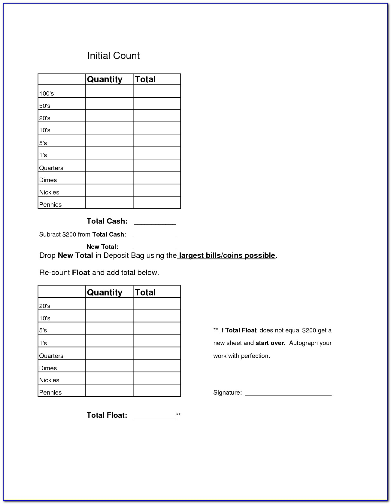 Daily Cash Reconciliation Template