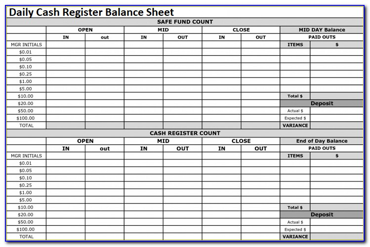 Daily Petty Cash Reconciliation Form
