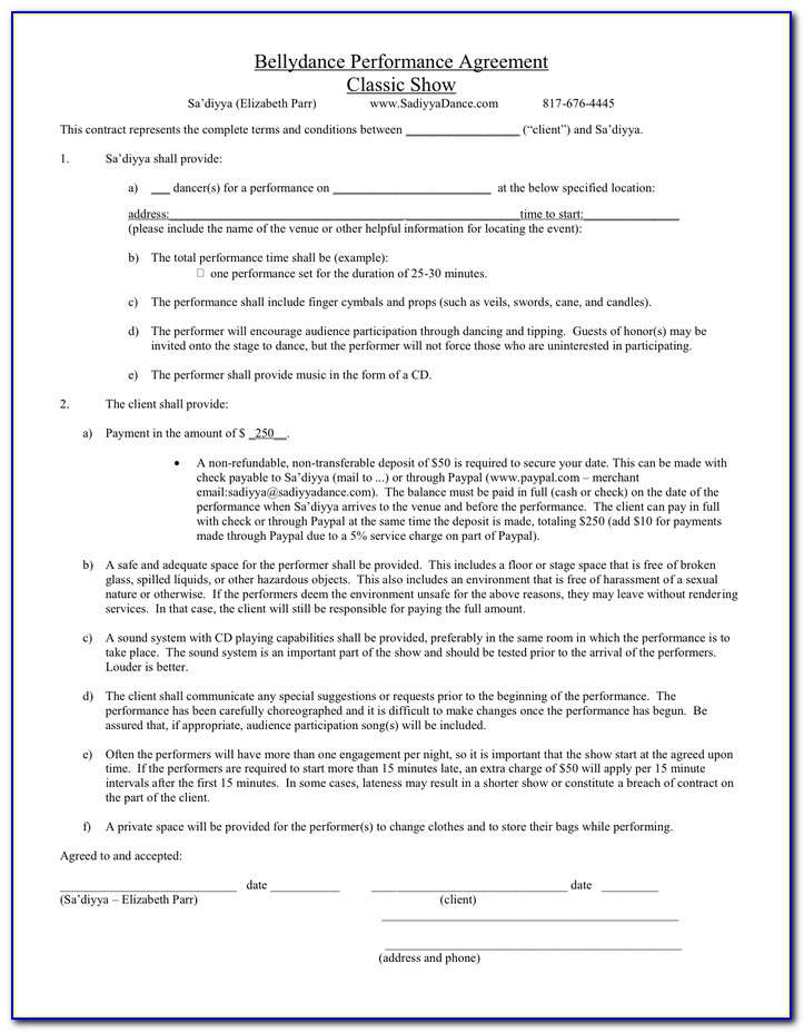 Dance Choreography Contract Template