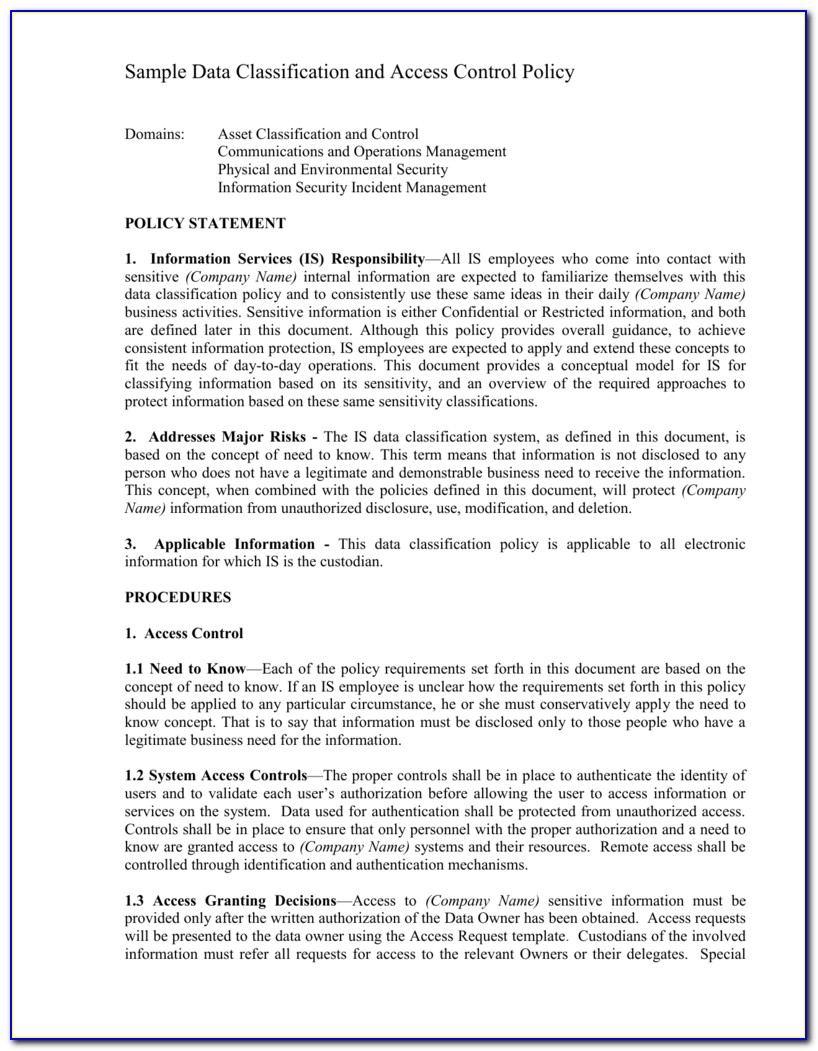 Data Classification Policy Template Uk