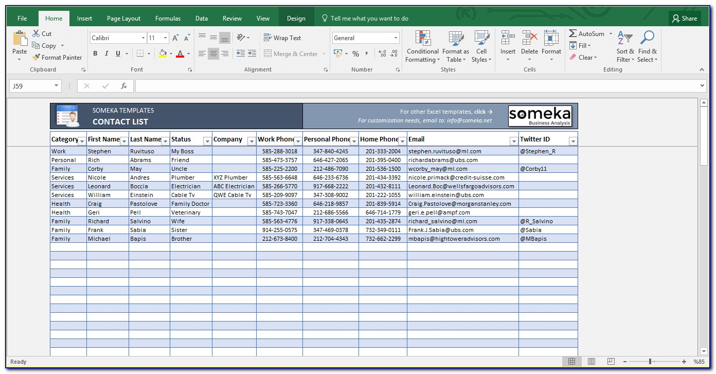 Database Template Excel 2007