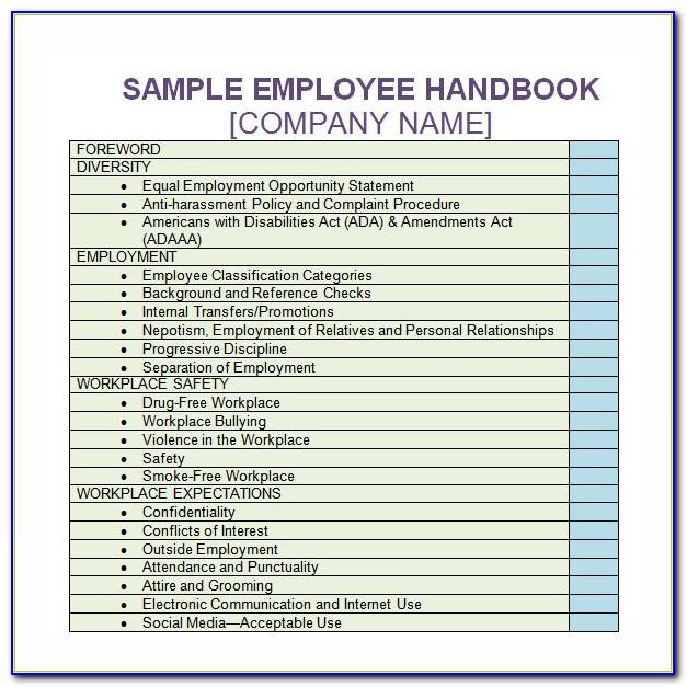 Daycare Staff Handbook Template