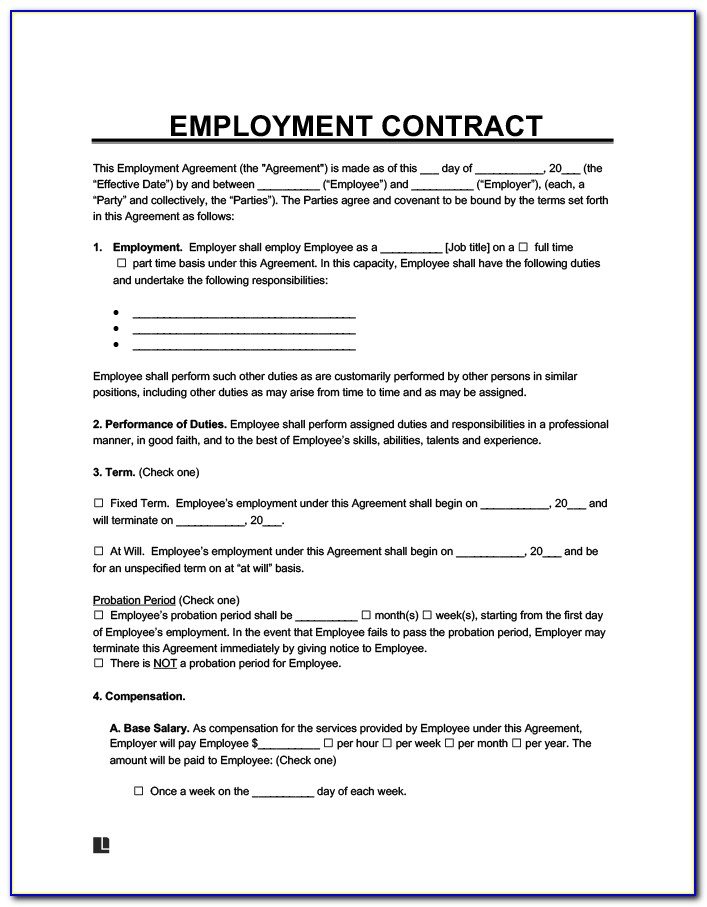 Employee Contract Agreement Letter